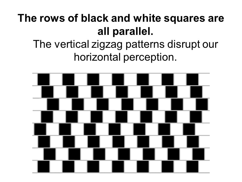 The rows of black and white squares are all parallel