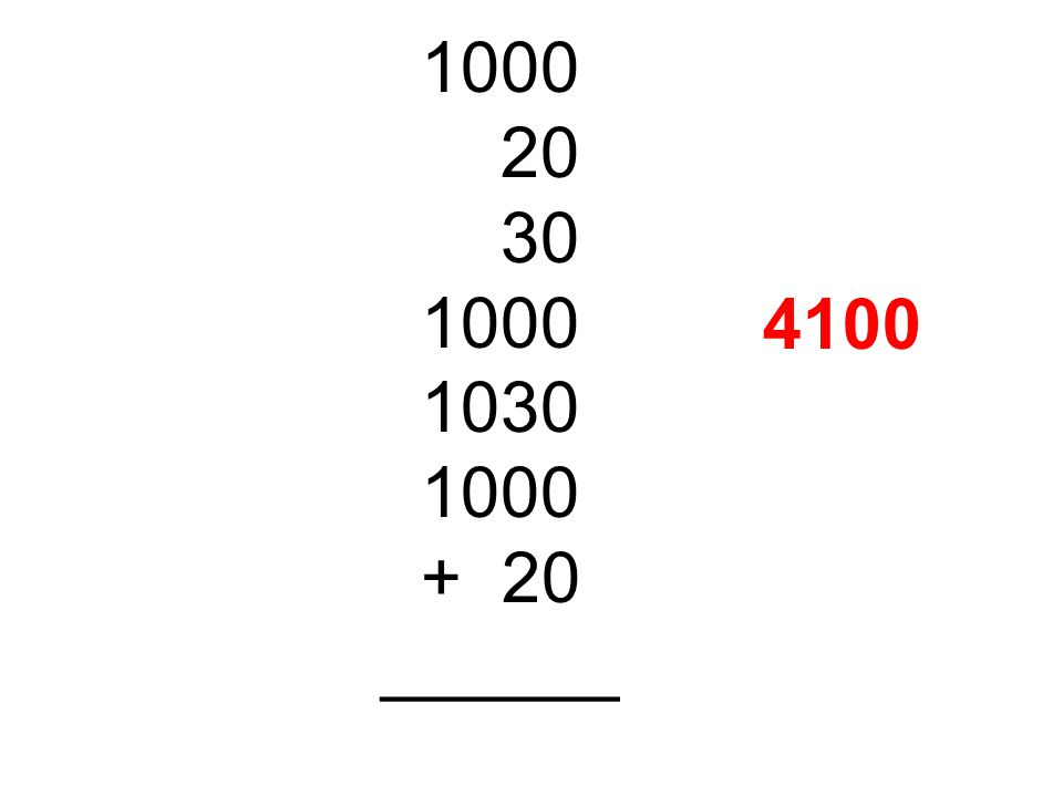 1000 20 30 1030 + 20 ______ 4100
