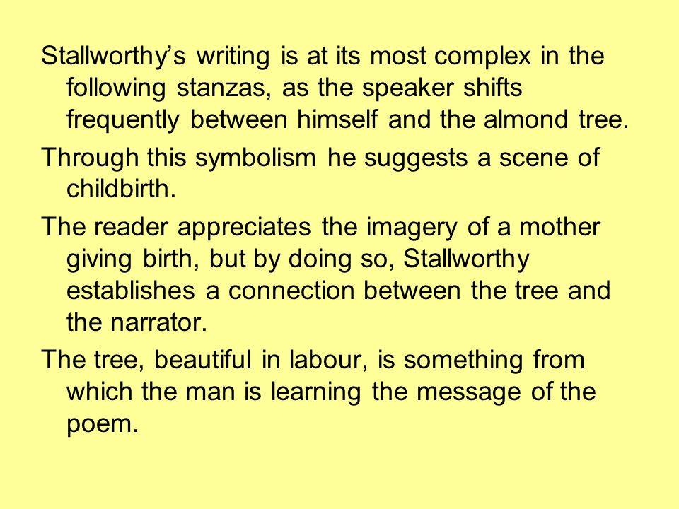 Stallworthy's writing is at its most complex in the following stanzas, as the speaker shifts frequently between himself and the almond tree.