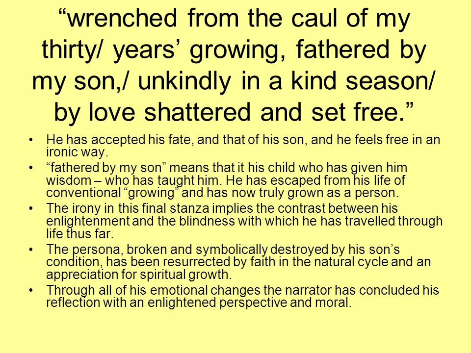 wrenched from the caul of my thirty/ years' growing, fathered by my son,/ unkindly in a kind season/ by love shattered and set free.