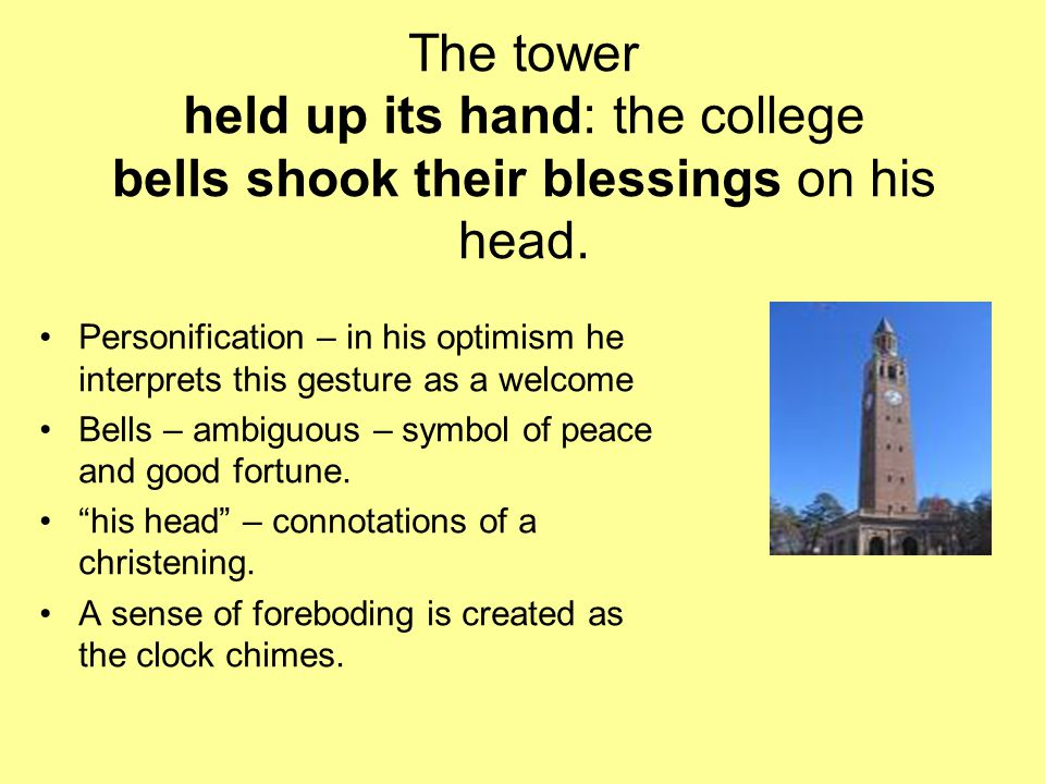 The tower held up its hand: the college bells shook their blessings on his head.
