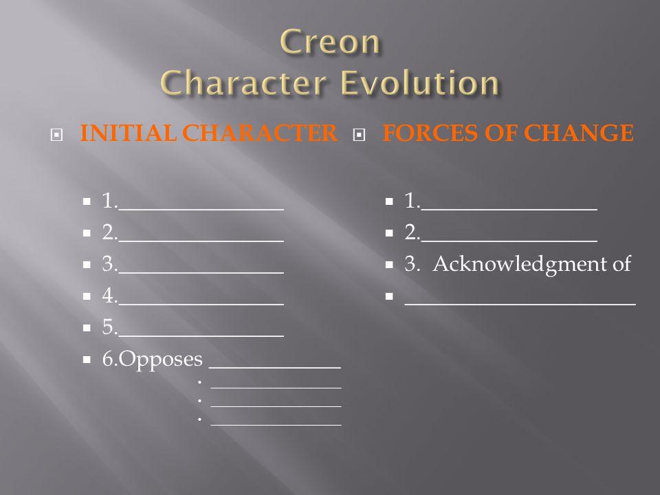 Creon Character Evolution