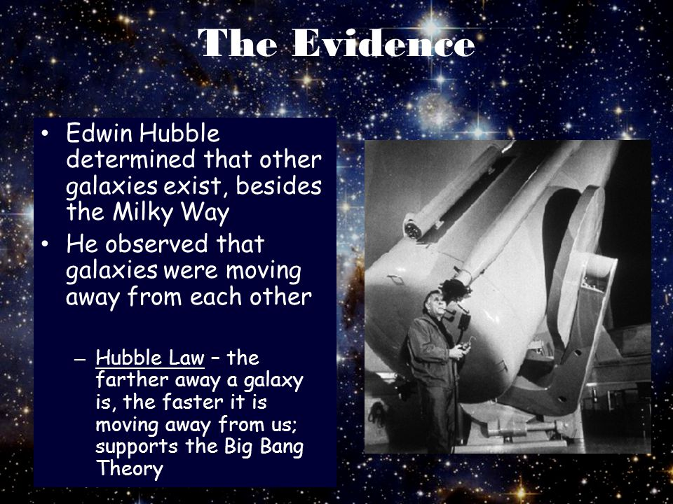 The Evidence Edwin Hubble determined that other galaxies exist, besides the Milky Way. He observed that galaxies were moving away from each other.
