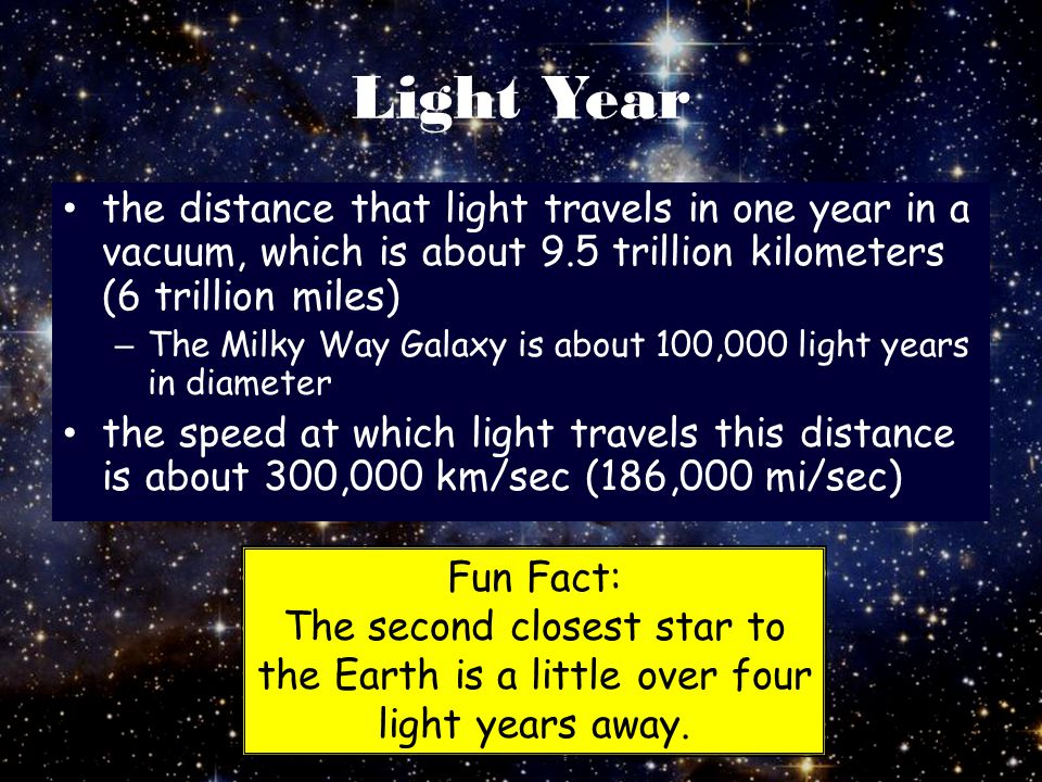 Light Year the distance that light travels in one year in a vacuum, which is about 9.5 trillion kilometers (6 trillion miles)
