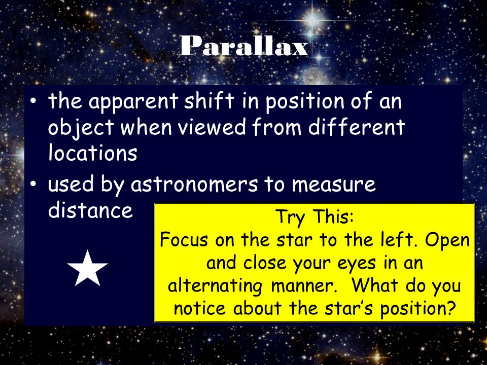 Parallax the apparent shift in position of an object when viewed from different locations. used by astronomers to measure distance.