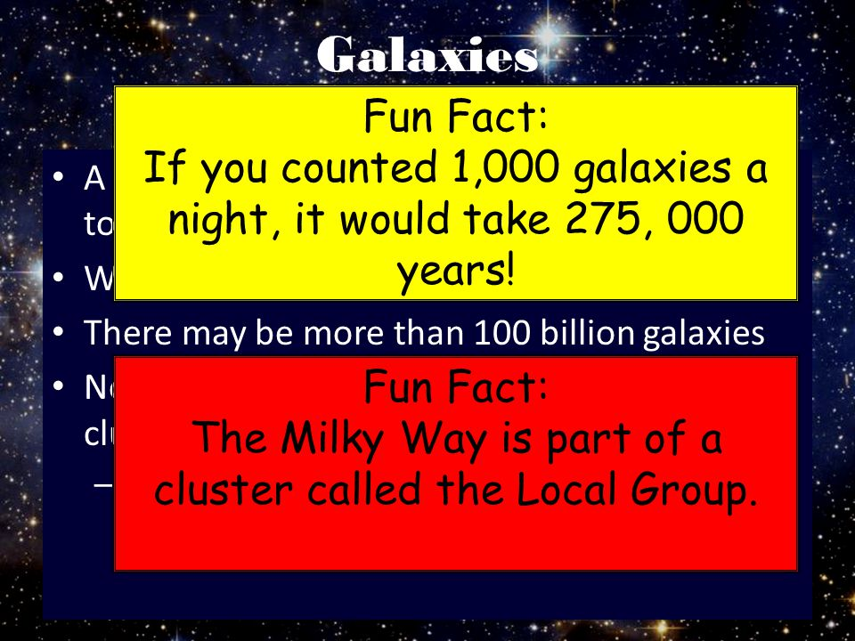 Galaxies Fun Fact: If you counted 1,000 galaxies a night, it would take 275, 000 years!