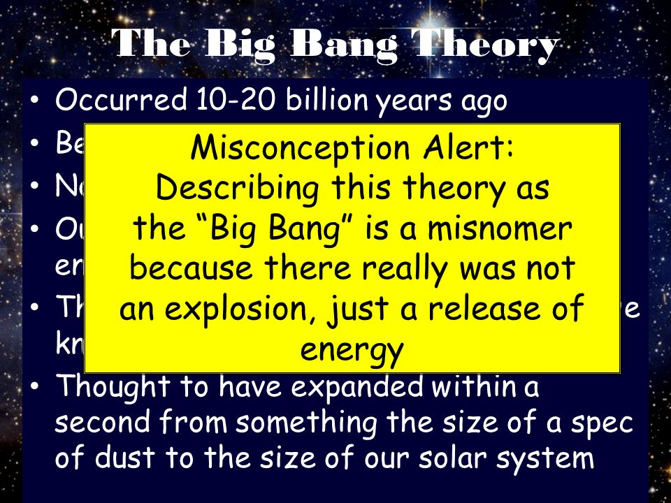 The Big Bang Theory Misconception Alert: Describing this theory as