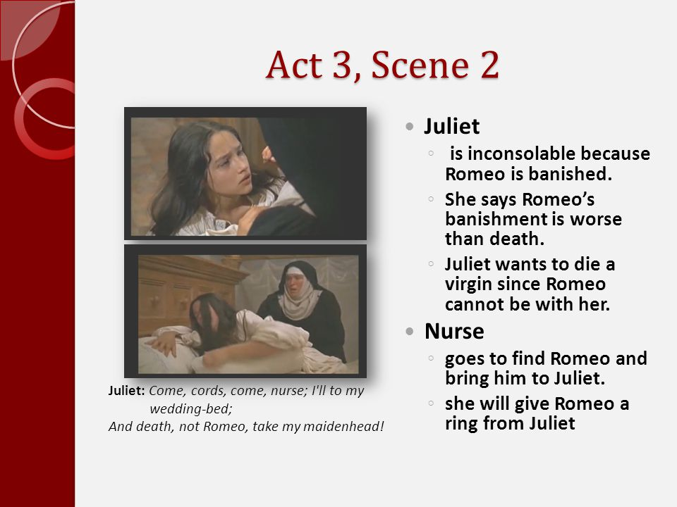 Act 3, Scene 2 Juliet Nurse is inconsolable because Romeo is banished.