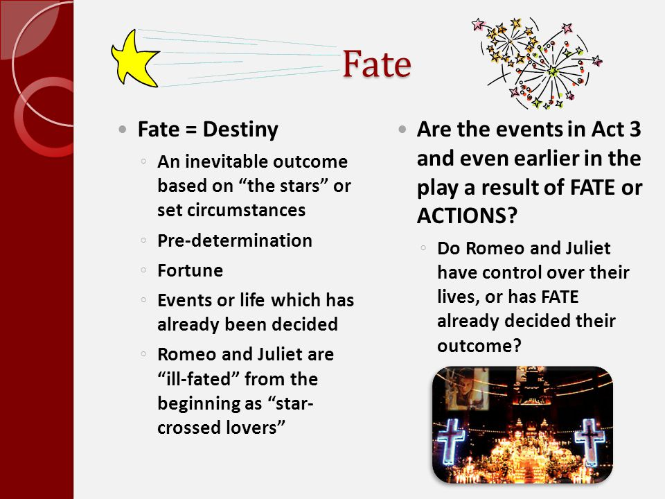 Fate Fate = Destiny. An inevitable outcome based on the stars or set circumstances. Pre-determination.