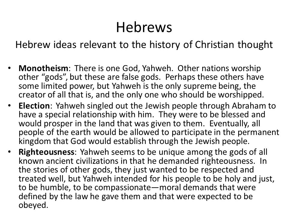Hebrew ideas relevant to the history of Christian thought