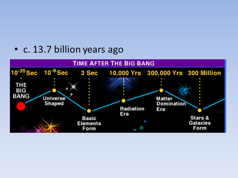 c. 13.7 billion years ago