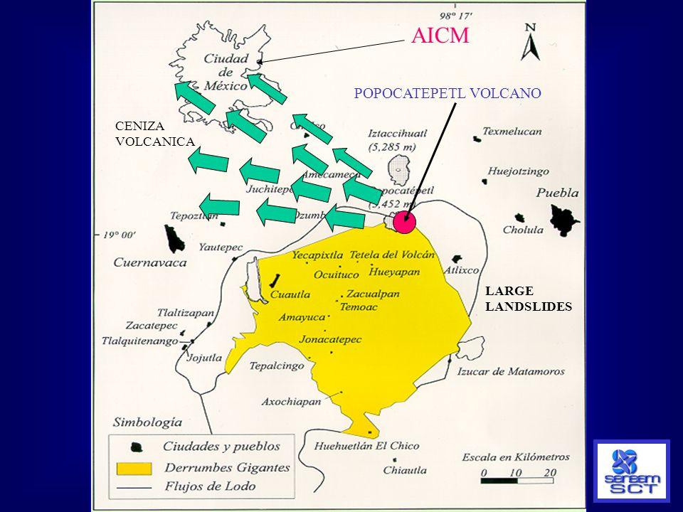 AICM POPOCATEPETL VOLCANO CENIZA VOLCANICA LARGE LANDSLIDES