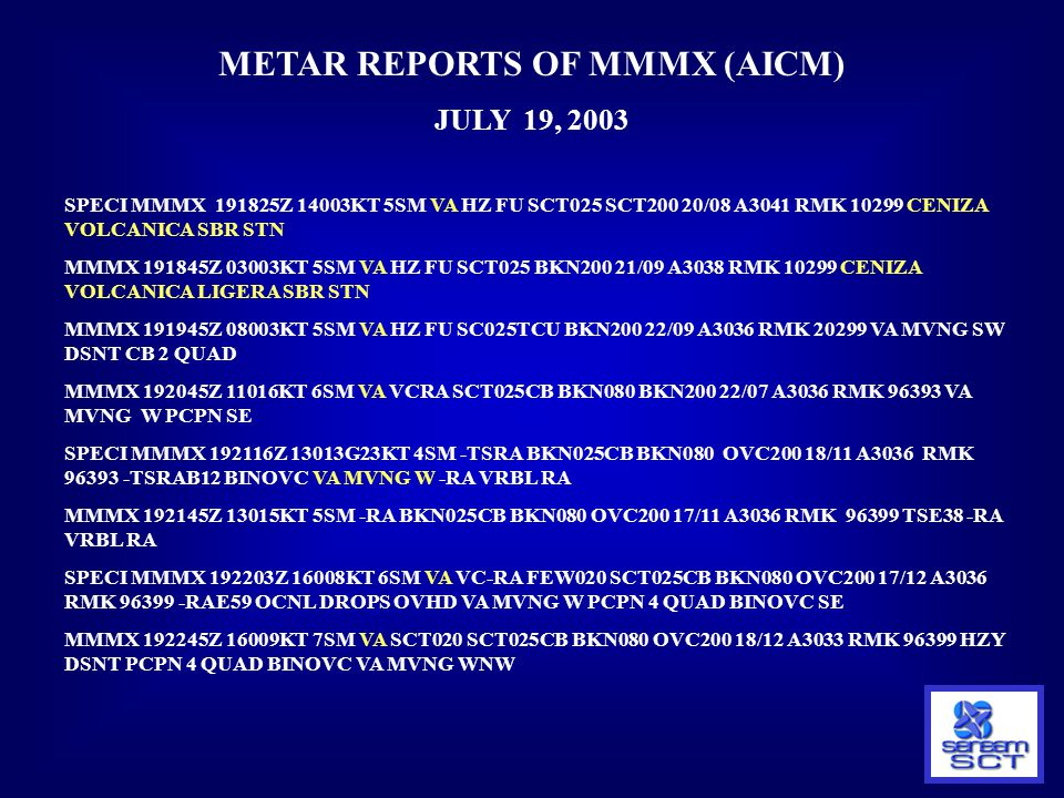 METAR REPORTS OF MMMX (AICM)