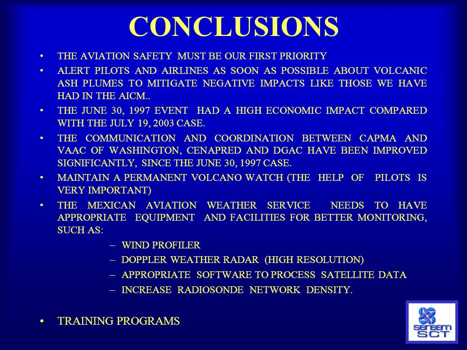 CONCLUSIONS TRAINING PROGRAMS