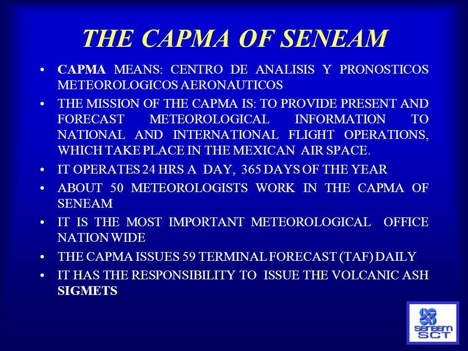 THE CAPMA OF SENEAM CAPMA MEANS: CENTRO DE ANALISIS Y PRONOSTICOS METEOROLOGICOS AERONAUTICOS.