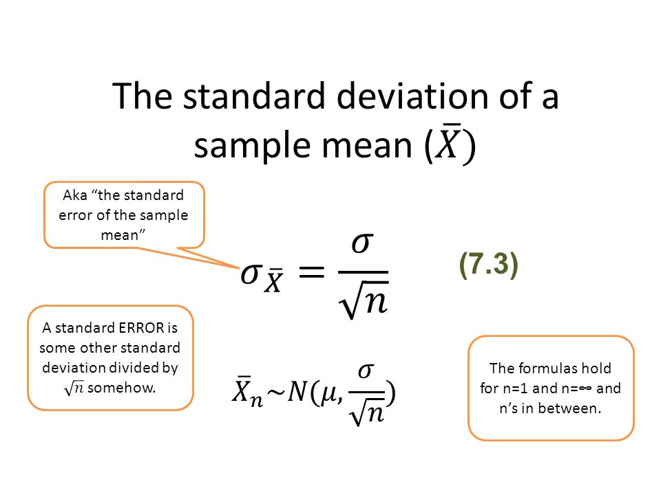 The standard deviation of a sample mean ( 𝑋 )
