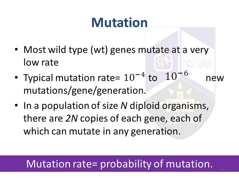 Mutation rate= probability of mutation.