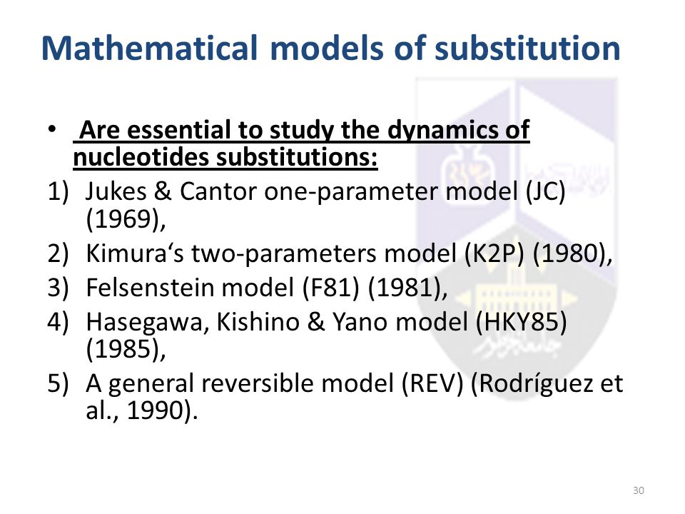 Mathematical models of substitution