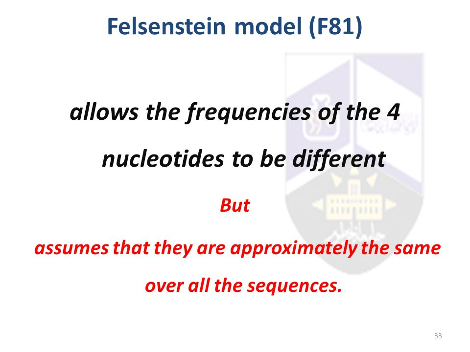 allows the frequencies of the 4 nucleotides to be different