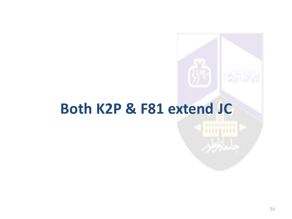Both K2P & F81 extend JC