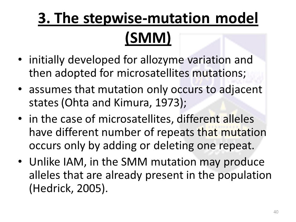 3. The stepwise-mutation model (SMM)