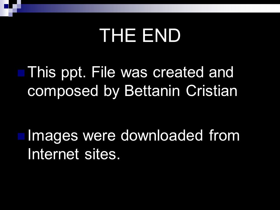 THE END This ppt. File was created and composed by Bettanin Cristian