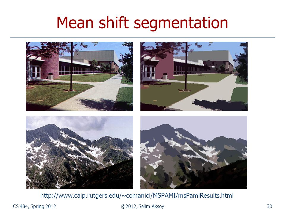 Mean shift segmentation
