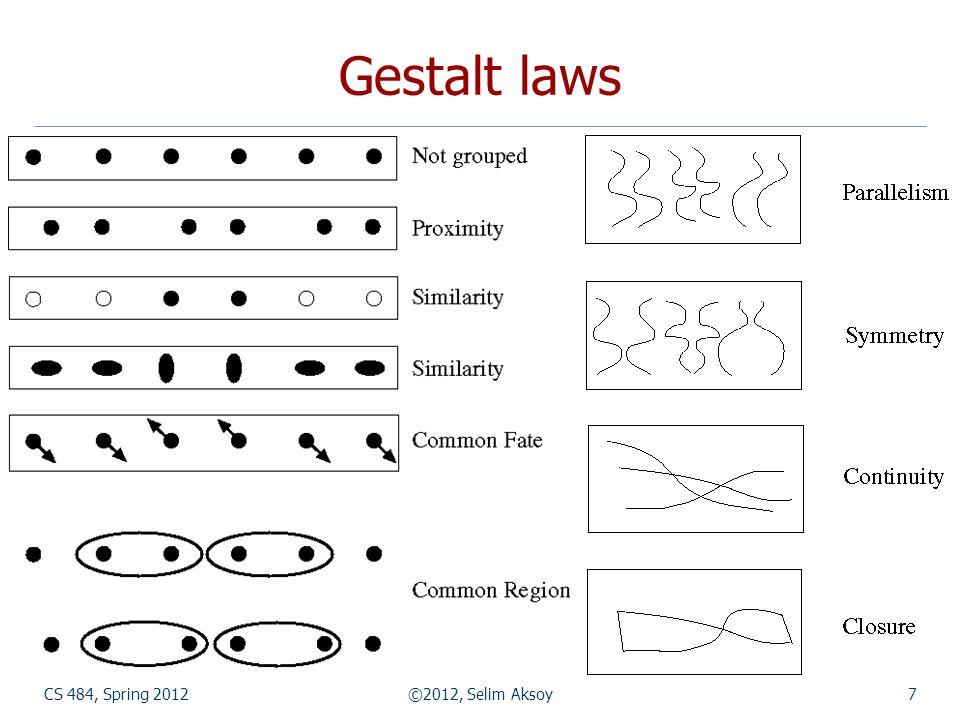 Gestalt laws CS 484, Spring 2012 ©2012, Selim Aksoy