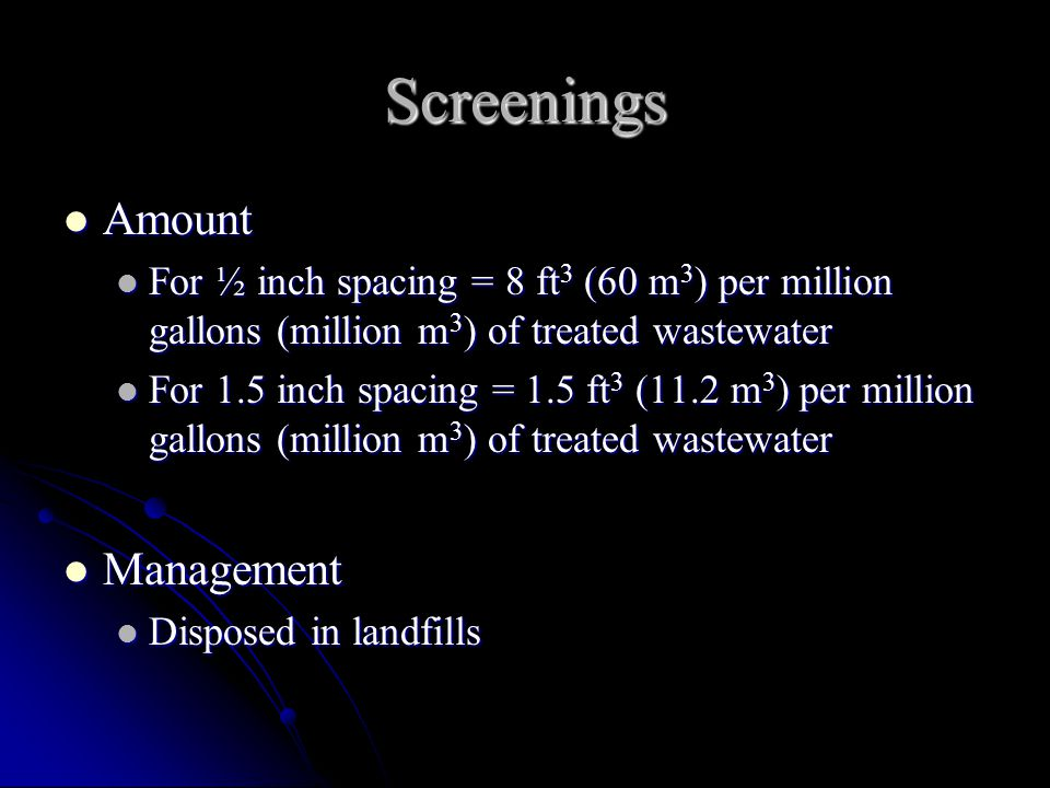 Screenings Amount Management