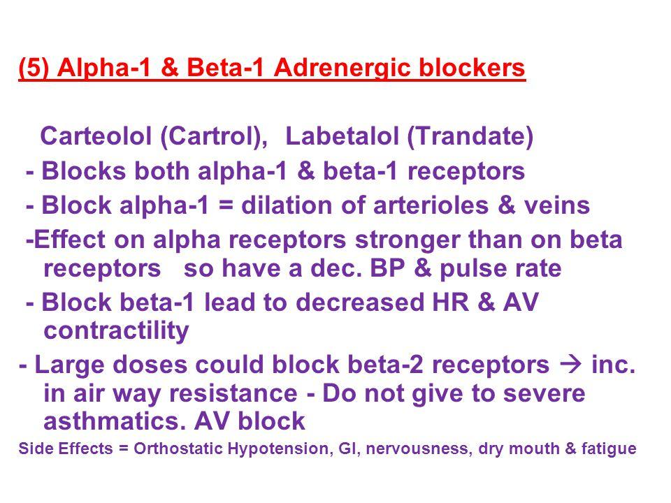 (5) Alpha-1 & Beta-1 Adrenergic blockers