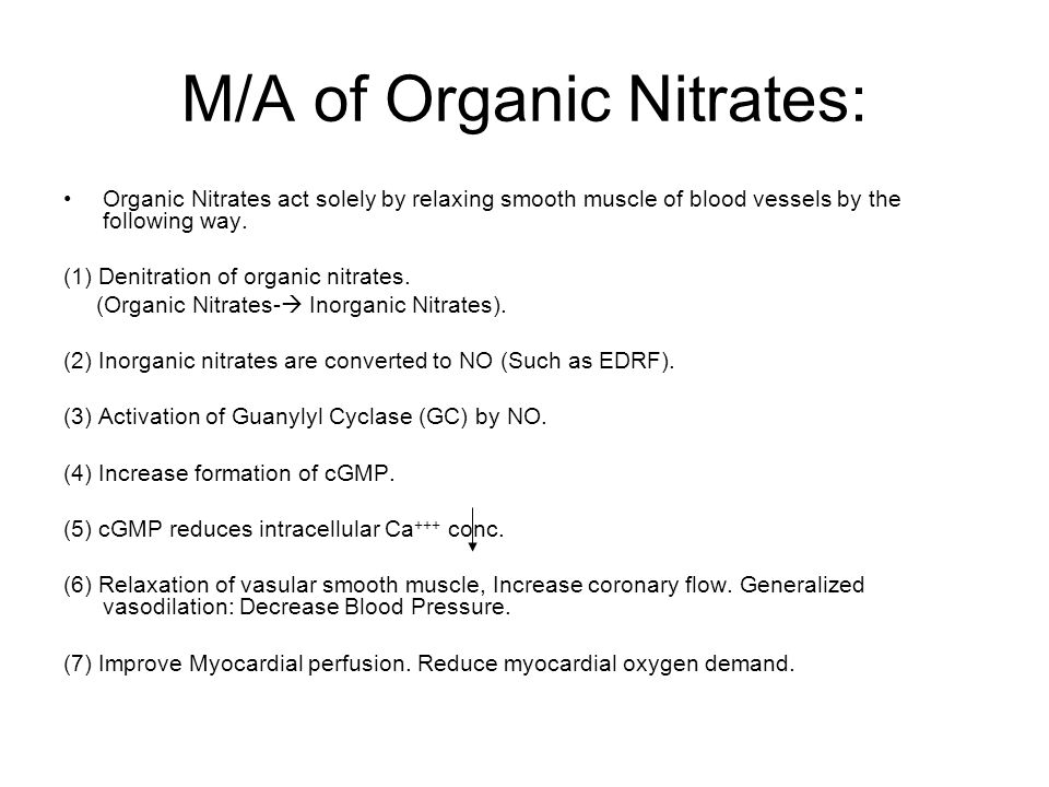 M/A of Organic Nitrates: