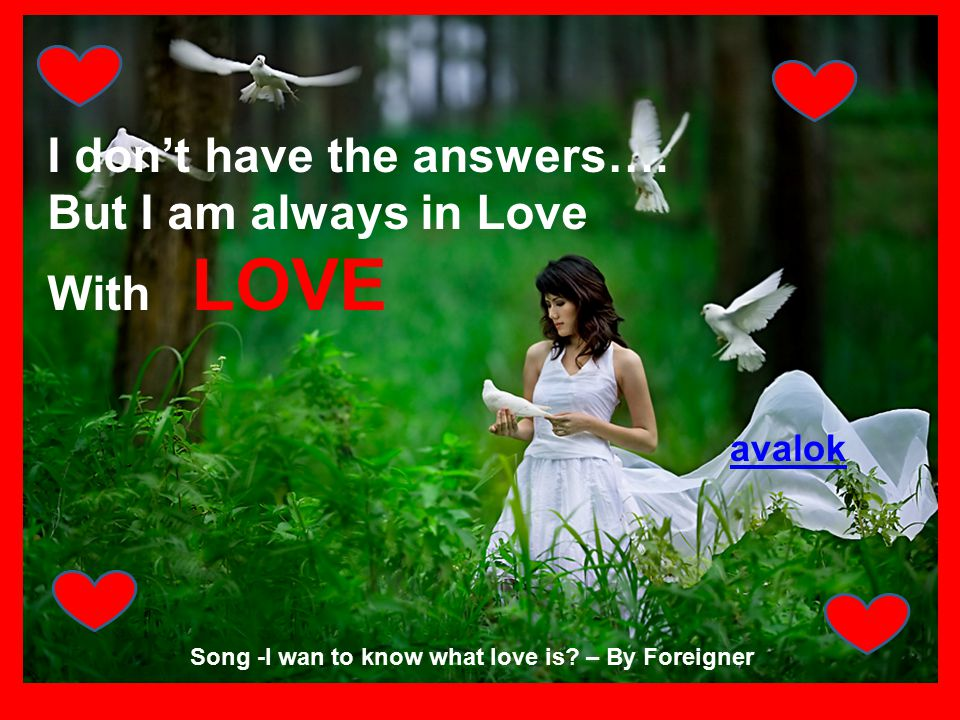 I don't have the answers…. But I am always in Love With LOVE