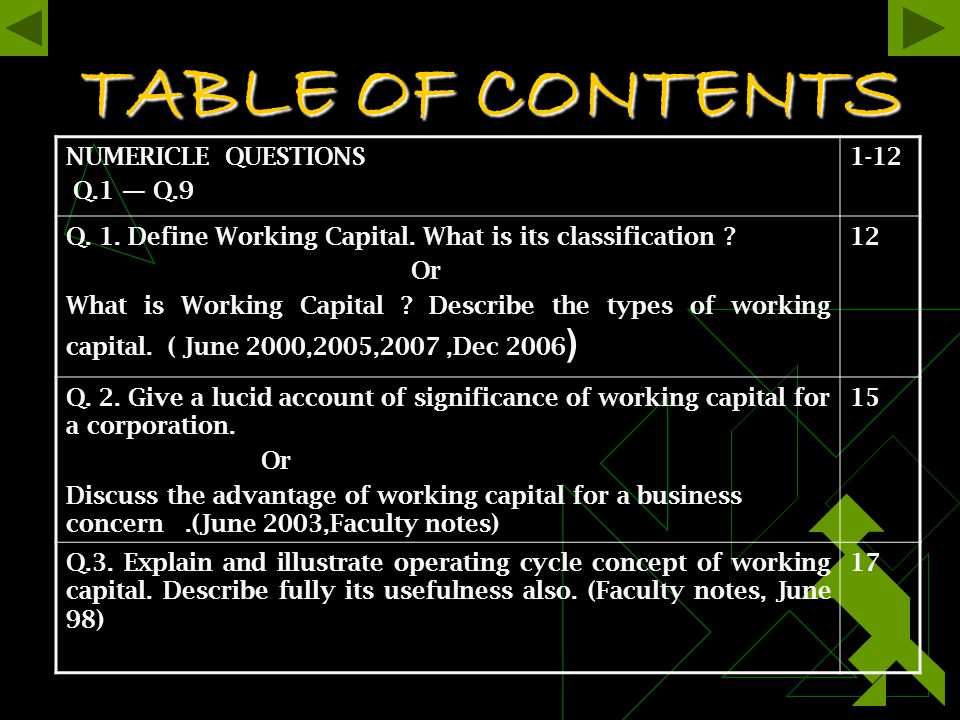 TABLE OF CONTENTS NUMERICLE QUESTIONS Q.1 — Q.9 1-12