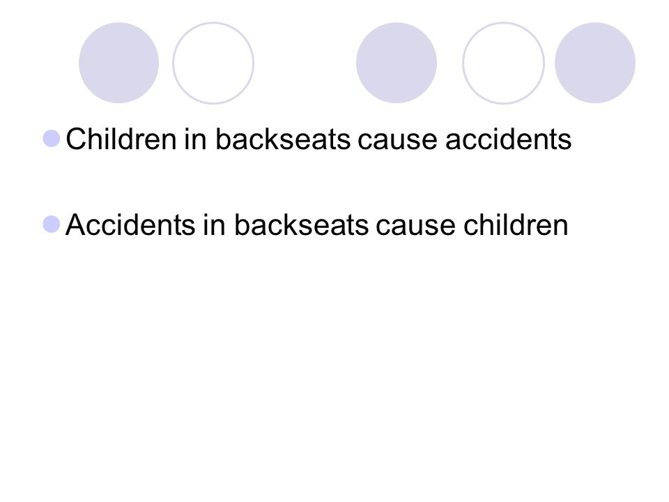 Children in backseats cause accidents