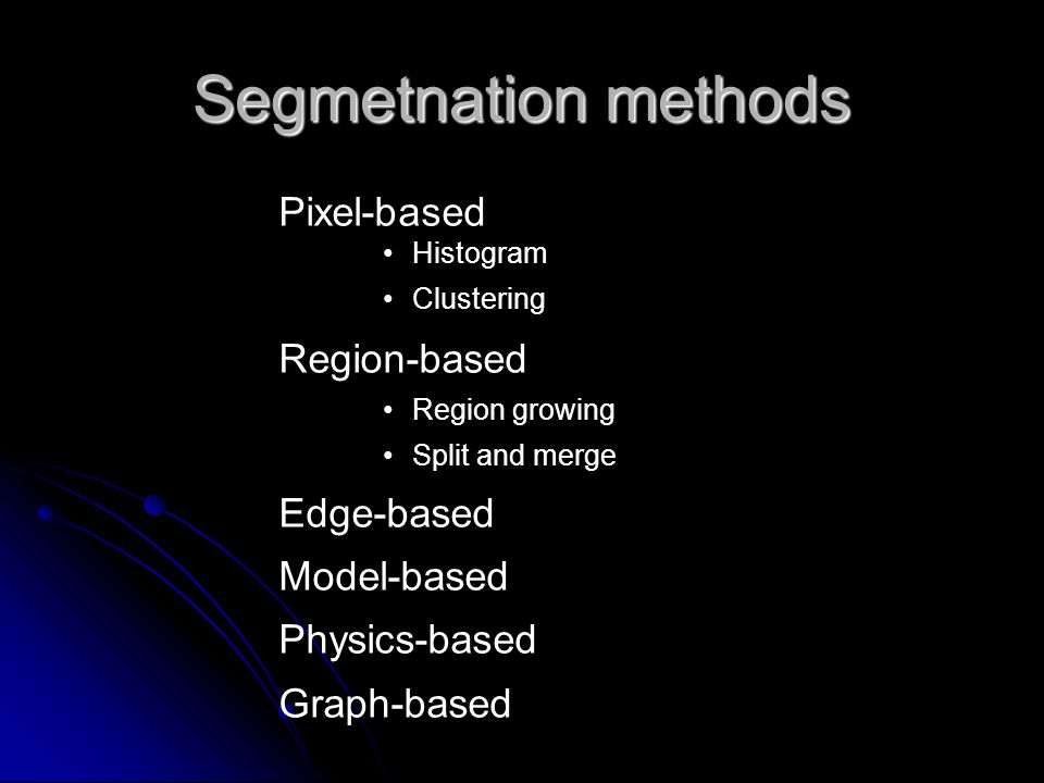 Segmetnation methods Pixel-based Region-based Edge-based Model-based