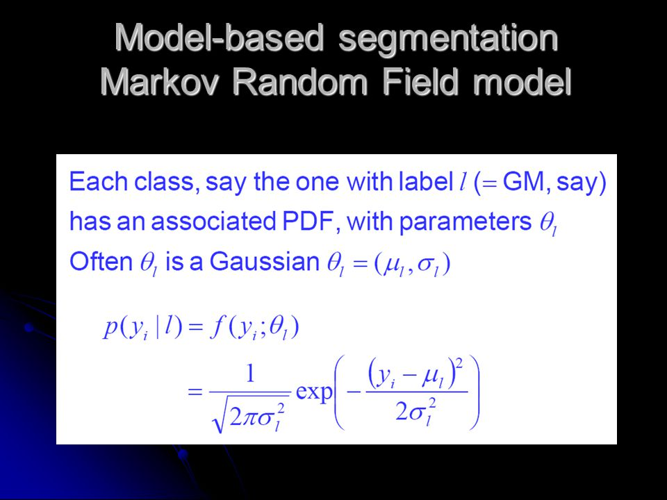 Model-based segmentation Markov Random Field model