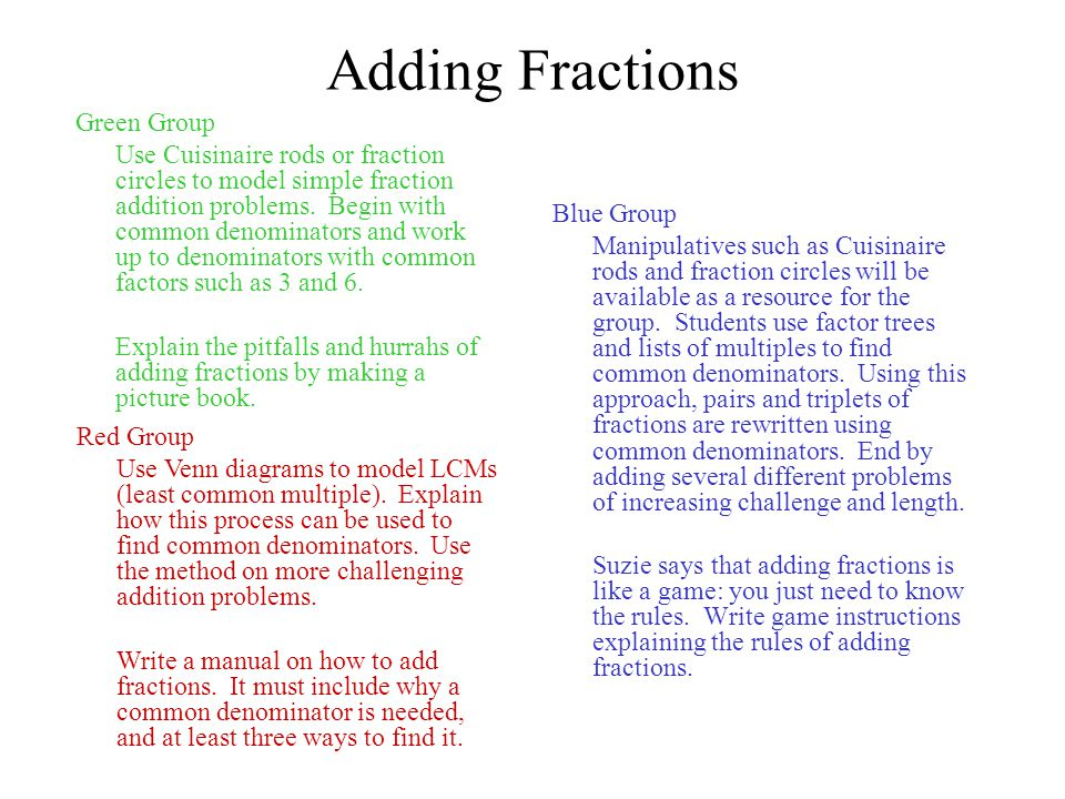 Adding Fractions Green Group