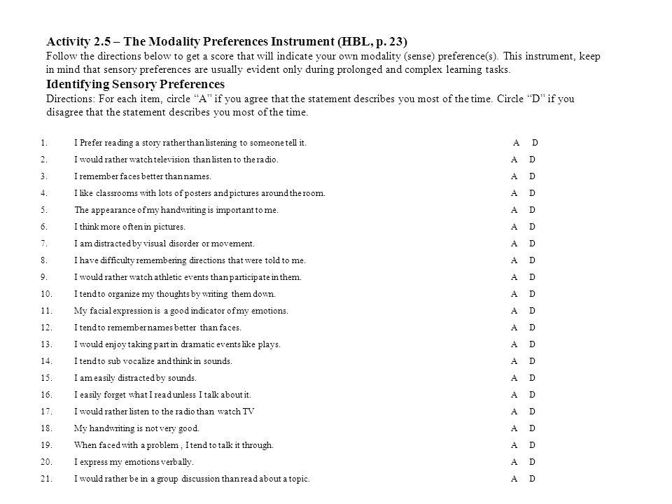 Activity 2. 5 – The Modality Preferences Instrument (HBL, p