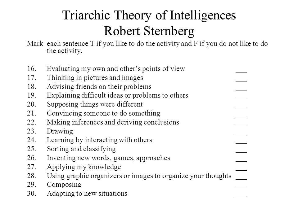 Triarchic Theory of Intelligences Robert Sternberg