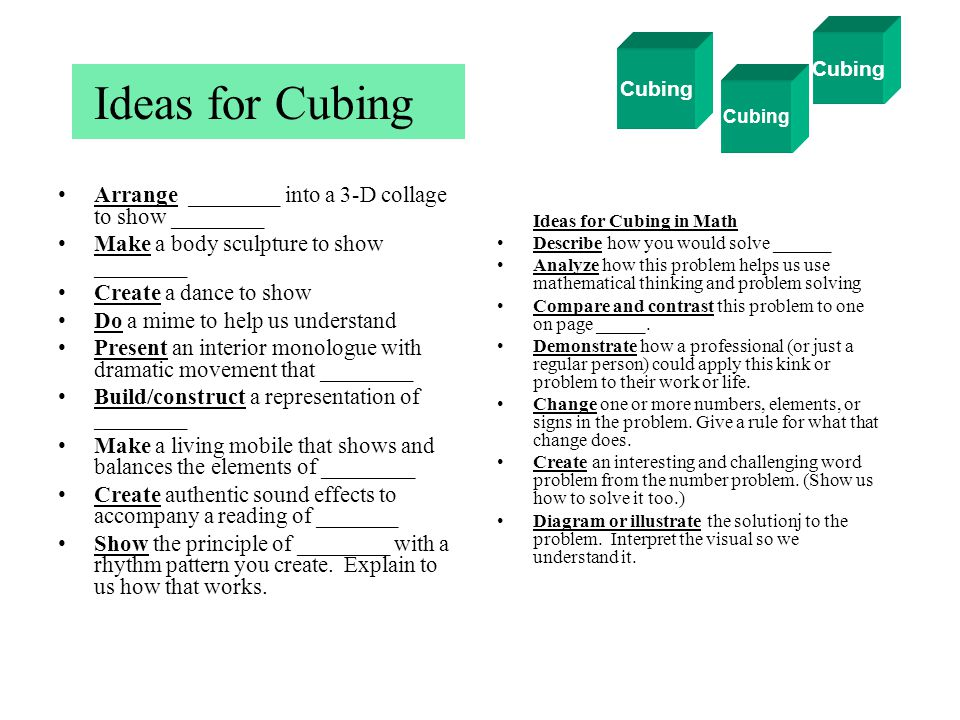 Ideas for Cubing Arrange ________ into a 3-D collage to show ________