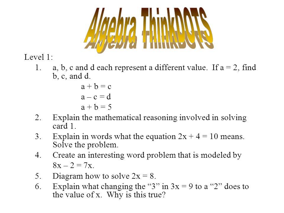 Algebra ThinkDOTS Level 1:
