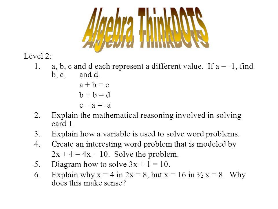 Algebra ThinkDOTS Level 2: