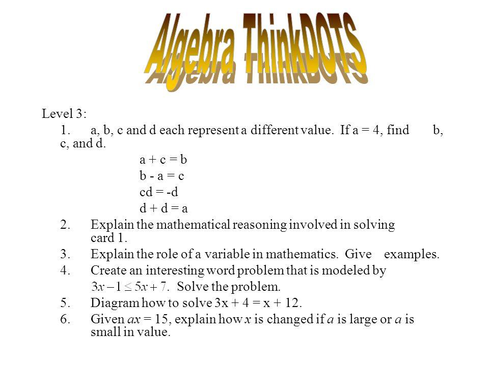 Algebra ThinkDOTS Level 3: