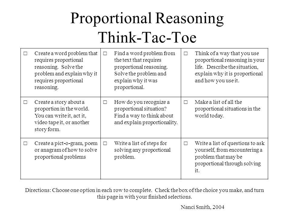 Proportional Reasoning Think-Tac-Toe