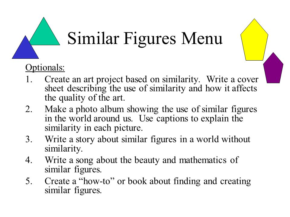 Similar Figures Menu Optionals: