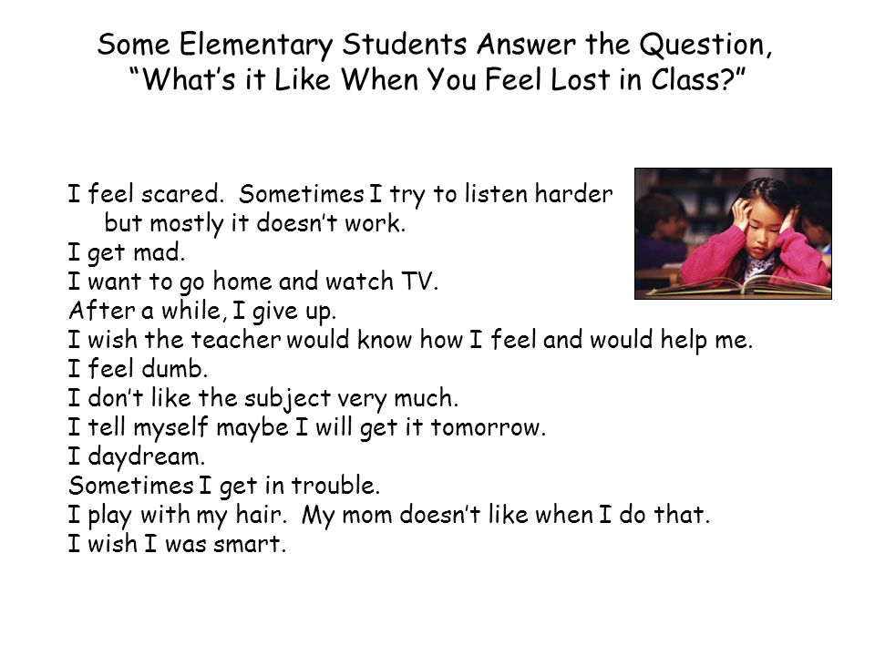Some Elementary Students Answer the Question,