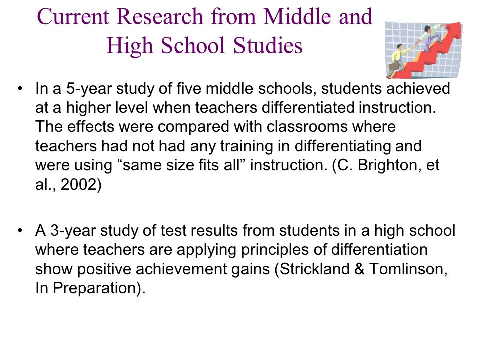 Current Research from Middle and High School Studies