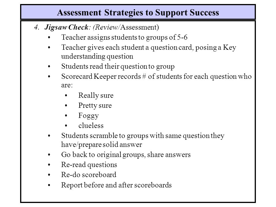 Assessment Strategies to Support Success