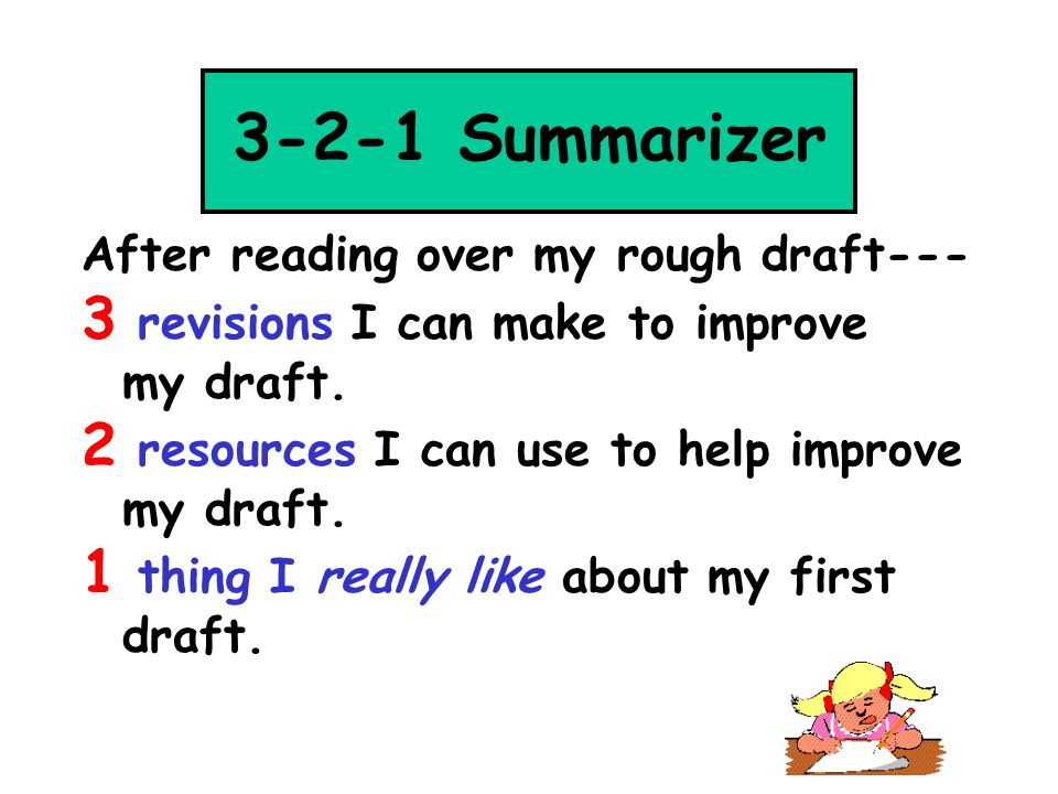 3-2-1 Summarizer 3 revisions I can make to improve