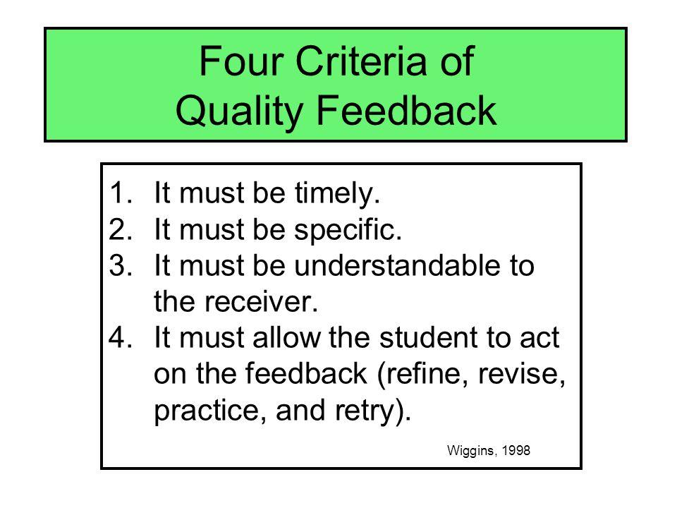 Four Criteria of Quality Feedback